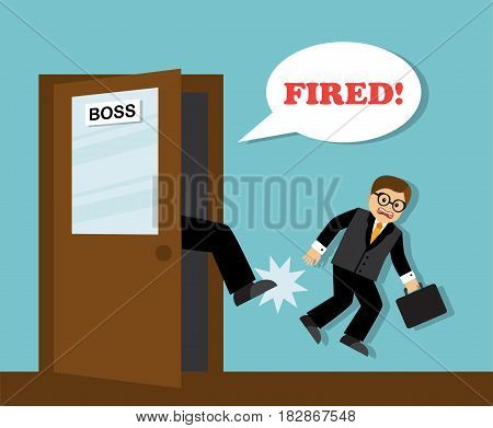 The boss's foot kicks the unnecessary employee-businessman