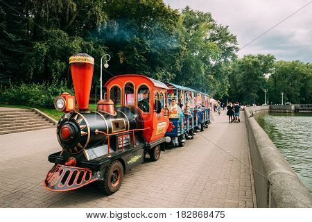 Minsk, Belarus - September 3, 2016: Beautiful Train For Sightseeing Near In Summer Park During Celebration Of Day Of Minsk City In A Historic Area Nemiga.