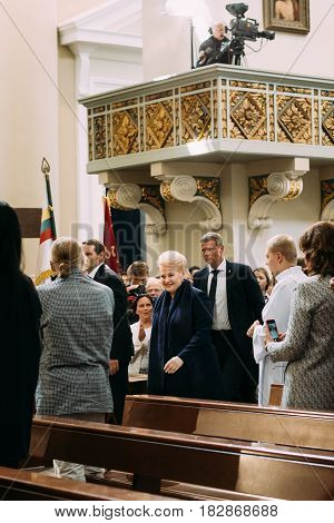 Vilnius, Lithuania - July 6, 2016: President of Lithuania Dalia Grybauskaite visiting Cathedral Basilica during celebration of Statehood Day. Holiday in commemorate coronation in 1253 of Mindaugas King