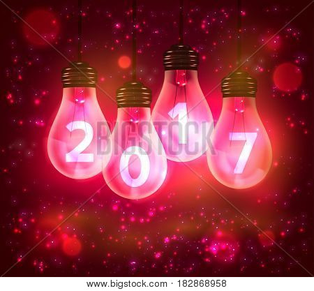 Text for new year 2017 numbers written in lamps, vector