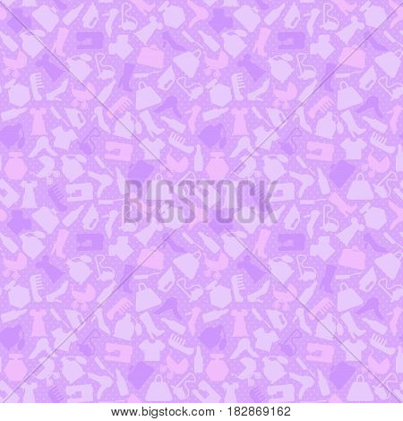 Background for woman, shopping items on seamless pattern, vector