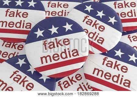 USA Politics News Badge: Pile of Fake Media Buttons With US Flag 3d illustration