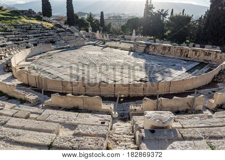 Ruins of the Theatre of Dionysus in Acropolis of Athens, Attica, Greece