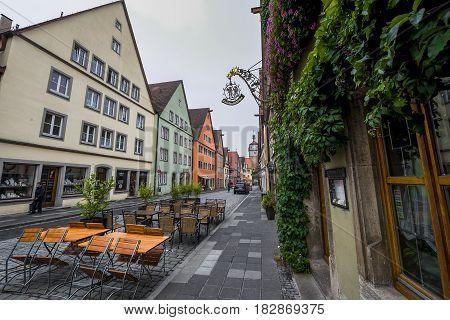 Rothenburg ob der Tauber, Germany - September 2017: cafe at the town streets