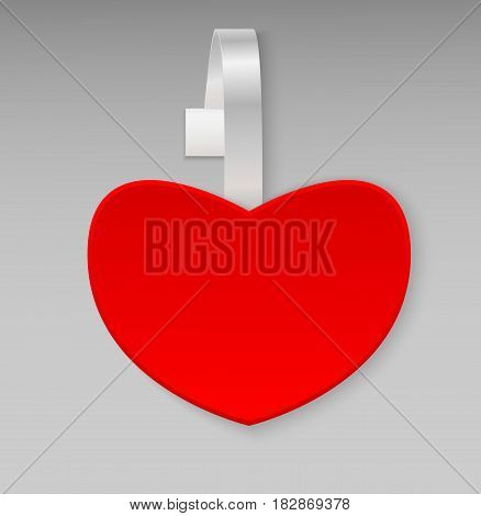 Empty vector blank shape red heart paper plastic advertising price wobbler front view. Isolated on background. Advertising price stickers for sale and discount Valentine's Day. Vector illustration.