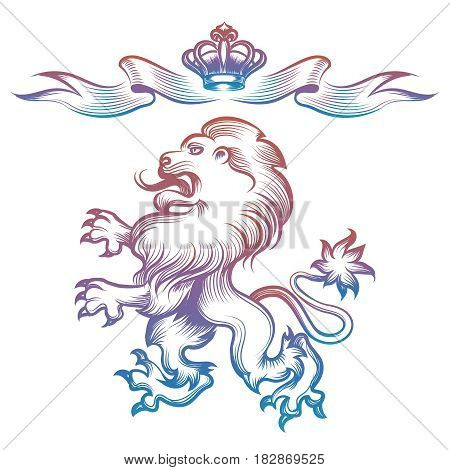 Colorful heraldy royal lion and crown isolated on white background. Vector illustration