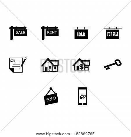 a collection of real estate icon vector