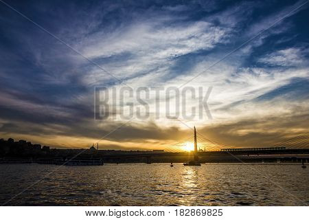 Bosporus evening sea view, Istanbul panorama, Turkey