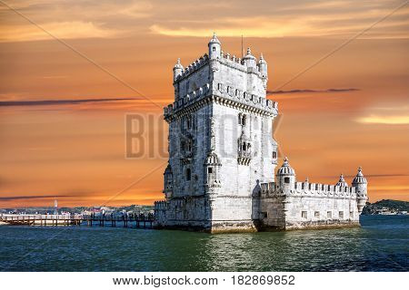 Belem tower architecture, Lisbon city view, Portugal