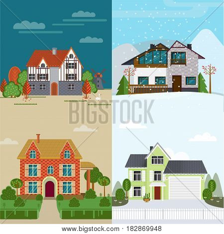 Flat rent houses concept with various exterior and architecture in different seasons vector illustration
