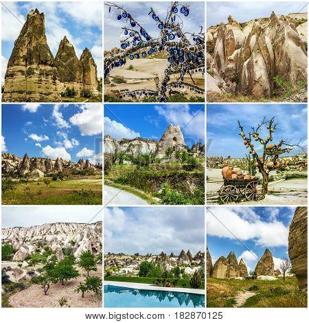 Collage - cave mountain landscapes, Cappadocia, Turkey