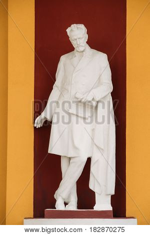 Gomel, Belarus - April 17, 2017: Statue On Facade Of Children's Musical School Of Arts 1 Of The City Of Gomel Named After Pyotr Ilyich Tchaikovsky. Peter Ilyich Tchaikovsky, was a Russian composer of the late-Romantic period