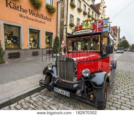 Rothenburg ob der Tauber, Germany - September 2017:  vintage car at the town streets