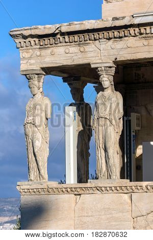 The Porch of the Caryatids in The Erechtheion an ancient Greek temple on the north side of the Acropolis of Athens, Attica, Greece poster