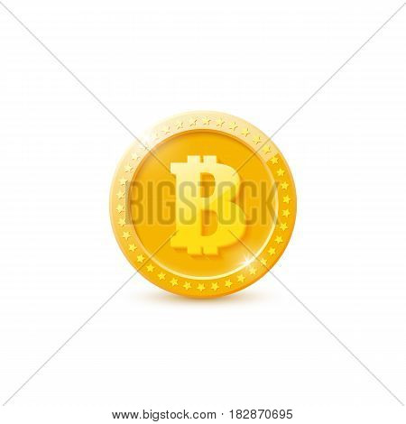 3d realistic gold bitcoin coin isolated on white background. Vector illustration.