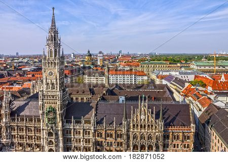 Marienplatz town hall architecture of Munich city, Germany