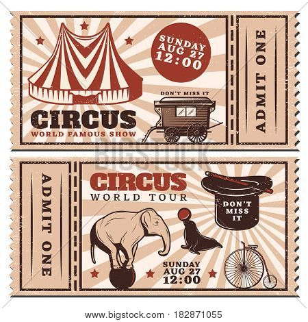 Vintage circus show advertising horizontal tickets with marquee wagon trained animals bicycle magic wand and hat vector illustration