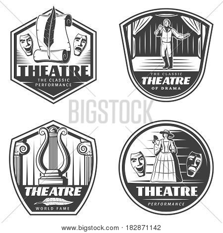 Vintage classic theatre emblems set with masquerade masks actors on stage paper scroll and harp isolated vector illustration