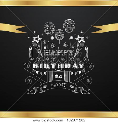 Vector greeting card with golden ribbons and black background