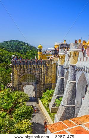 SINTRA, PORTUGAL - APRIL 15, 2017: Pena National Palace in Sintra (Palacio Nacional da Pena) Portugal.