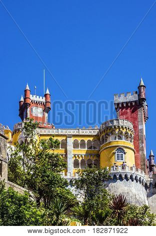 Sintra, Portugal. Pena National Palace architectural view.