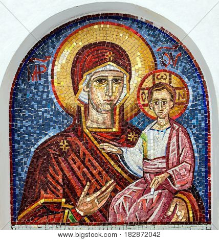 Ostrog, Montenegro - April 3, 2017: Virgin Mary - mosaic icon in rocky Serbian Orthodox Christian monastery Ostrog in mountains Montenegro