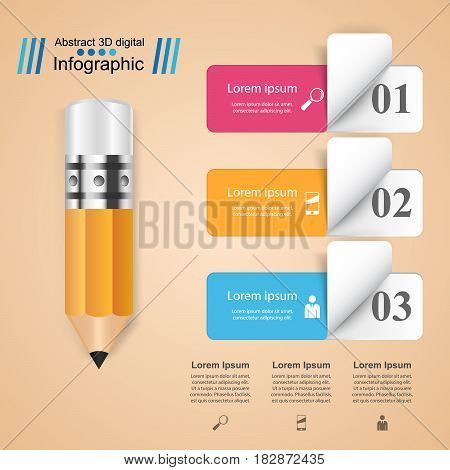 3D infographic design template and marketing icons. Pencil icon.