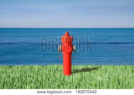 Fire hydrant by the sea - plenty of water concept image