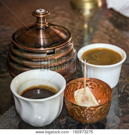Coffee traditional arabic table appointments with rahat lokum