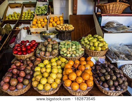 exotic fruits in Madeira island food market