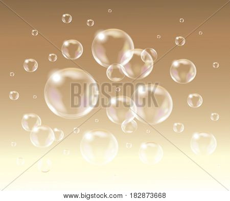 Realistic isolated Soap Bubbles.
