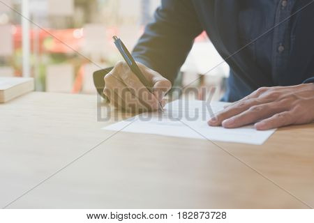 Businessman Signing Contract Document Making A Deal At Office, Business Agreement, Cooperation Conce