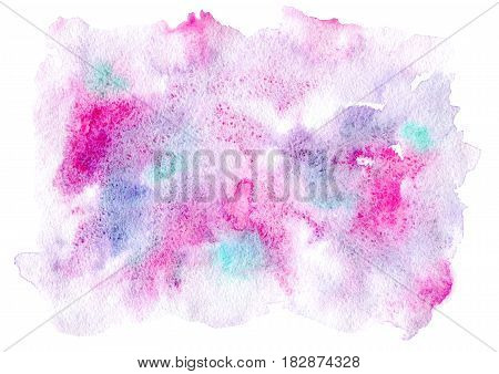 Pink and blue watery spreading illustration.Abstract watercolor hand drawn image.Purple splash.White background.