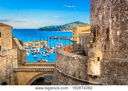 Beautiful mediterranean scenery in town Dubrovnik, famous european travel and historic destination in Croatia.