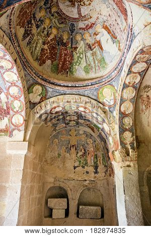 Goreme, Turkey - April 13, 2017: Fresco in cave orthodox church El Nazar, Cappadocia, Turkey
