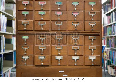An Old Style Wooden Cabinet Of Library Card  Or File Catalog Index Drawers With Label Holders And Bl