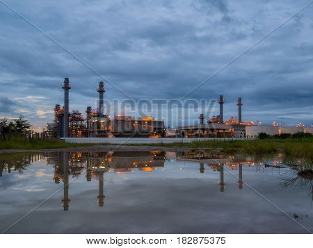 power plant on twilight sky, chonburi, thailand.