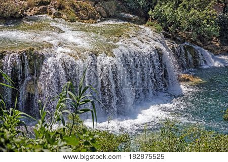 Croatia. Waterfall of Krka nature park landscape