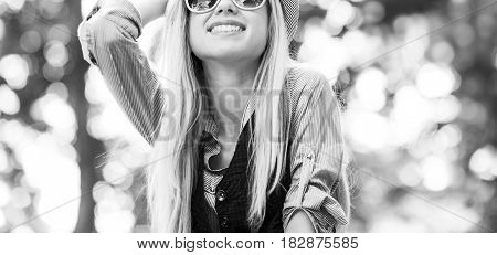 Happy Hipster Girl Rejoicing In The Park