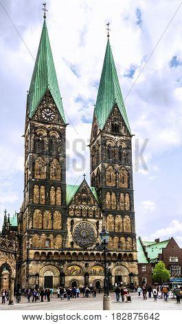 Bremen, Germany - April 19, 2017: Cathedral church square (Bremer Sankt Petri Dom) in Bremen, Germany