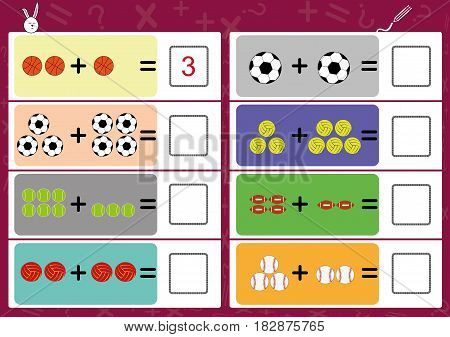 add the objects and write the correct answer math worksheet for kids