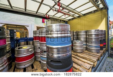 Rothenburg ob der Tauber, Germany - September 2017: beer barrels on the truck at the town streets