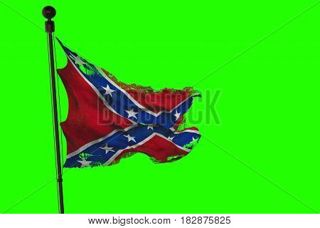Closeup Of Ripped Tear Grunge Old Waving Confederate Flag Of The National States Of America Us, Fabr