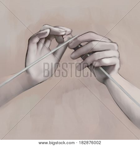 Picturesque hand drawing knitting needles. Art object. Illustration