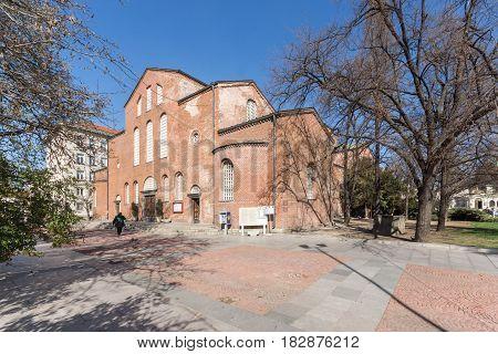 SOFIA, BULGARIA - APRIL 1, 2017: Amazing view of St. Sofia church in Sofia, Bulgaria