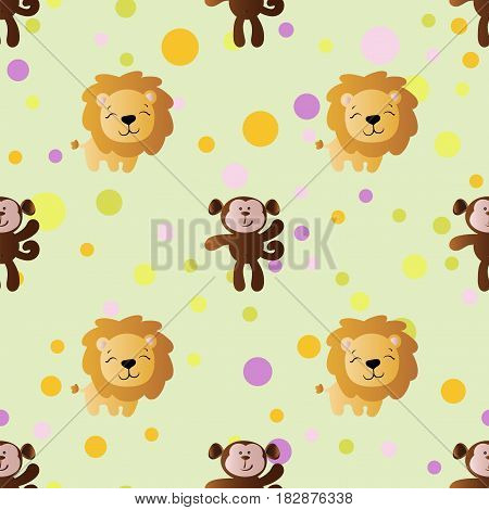 seamless pattern with cartoon cute toy baby monkey lion and Circles on a light green background