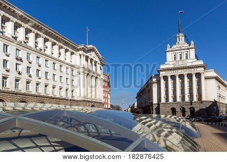 SOFIA, BULGARIA - APRIL 1, 2017: Buildings of Council of Ministers and Former Communist Party House in Sofia, Bulgaria