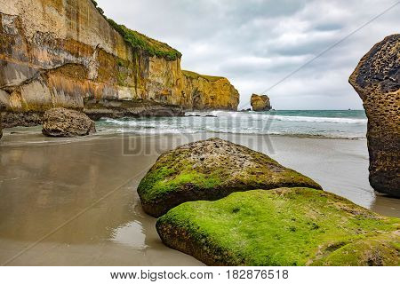 An image of the Tunnel Beach in New Zealand