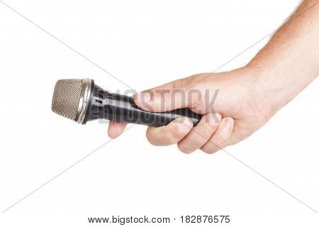 hand hold microphone for interview isolated on white