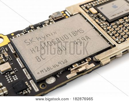 Chiang Rai Thailand: April 8 2017 - Close-up image of SK hynix memory NAND flash IC chip on Apple iPhone 6 or iPhone 6plus logic board. Selective focus
